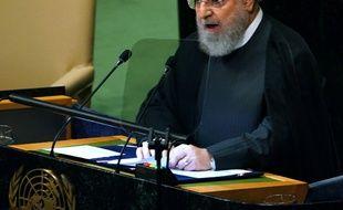 Le président iranien Hassan Rohani, devant l'Assemblée générale annuelle de l'ONU le 25 septembre 2018.