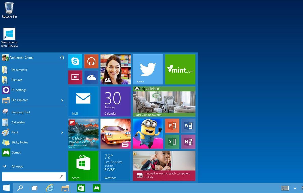 Le menu démarrer de Windows 10. – MICROSOFT