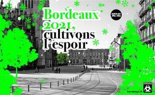 La carte de voeux de la mairie de Bordeaux où la statue de Jacques Chaban-Delmas n'apparaît pas