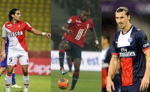 Falcao (à gauche), Salomon Kalou (au centre) et Zlatan Ibrahimovic, en 2013