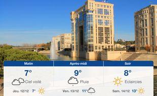 Météo Montpellier: Prévisions du mercredi 11 décembre 2019