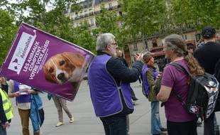 Des militants du Parti animaliste à Paris, le 18 mai, en amont des élections européennes.