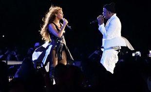 """Beyoncé et Jay-Z lors de leur tournée """"On the Run"""" en 2014."""