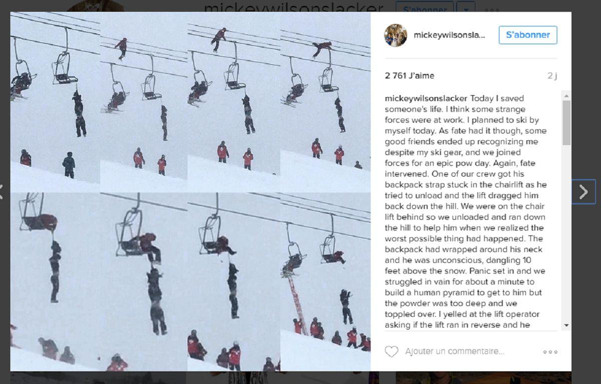 Capture d'écran de la photographie publiée sur le compte de Mickey Wilson, un américain adepte de slackline. – @mickeywilsonslacker