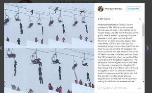 Capture d'écran de la photographie publiée sur le compte de Mickey Wilson, un américain adepte de slackline.
