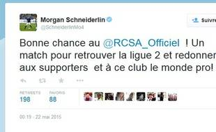 Tweet d'encouragement de Morgan Schneiderlin.
