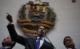 Juan Guaido lors de sa prestation de serment à l'Assemblée nationale de Caracas, le 7 janvier 2020.