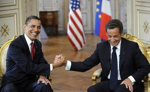 Nicolas Sarkozy et Barack Obama, samedi 6 juin 2009 à Caen, à l'occasion des célébrations du 65e anniversaire du débarquement des Alliés en Normandie