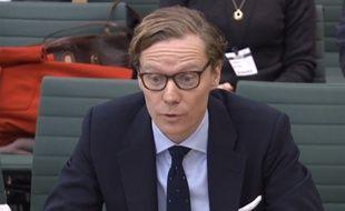 Alexander Nix, au parlement britannique à Londres, le 27 février 2018. Le patron de Cambridge Analytica, a été suspendu le 20 mars 2018 après le scandale lié à Facebook.
