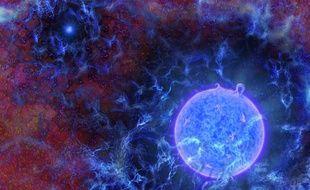 Vue d'artiste d'une des premières étoiles de l'univers, qui se serait formée 180 millions d'années après le Big Bang.