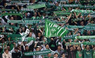 Des supporters stéphanois lors de la rencontre entre Saint-Etienne et Dnipro le 2 octobre 2014.
