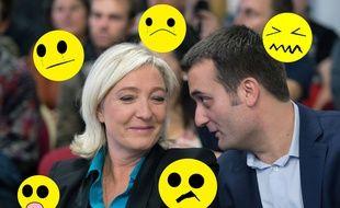 Collage Paint/SIPA de Florian Philippot, vice-président du FN et Marine Le Pen, le 12 octobre 2013 à Paris