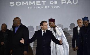 Emmanuel Macron réuni avec les présidents de cinq pays sahéliens à Pau, le 13 janvier 2020.