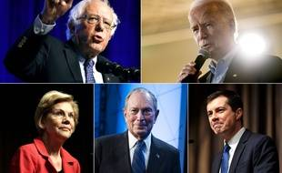 Les cinq candidats favoris de la primaire démocrate: Bernie Sanders, Joe Biden, Elizabeth Sanders, Michael Bloomberg et Pete Buttigieg.