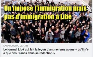 La publication Facebook affirmant à tort que la rédaction de Libération est exclusivement blanche.