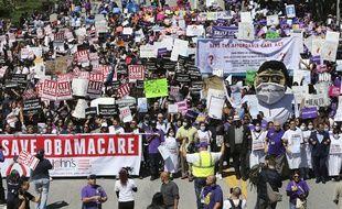 Une manifestation pour sauver la réforme de la santé «Obamacare», en mars 2017.