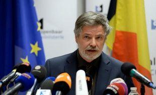 Le porte-parole du parquet, Thierry Werts, lors d'une conférence de presse à Bruxelles, le 8 avril 2016