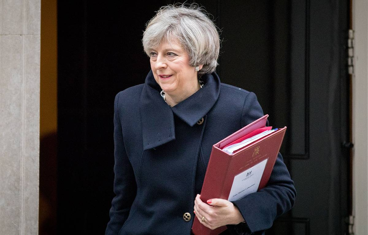 Prime Minister Theresa May leaves 10 Downing Street on her way to Parliament, London, UK - 08 Feb 2017 – NICHOLSON/LNP/SHUTTERS/SIPA