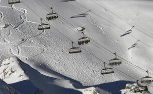 Des skieurs au Val d'Isère le 21 décembre 2014