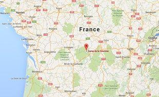 Google map du camp militaire de La Courtine, dans la Creuse.