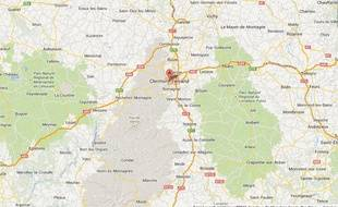 Google map de Clermont-Ferrand.