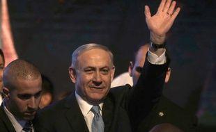 Benyamin Netanyahou célèbre sa victoire le soir des législatives, le 17 mars 2015.