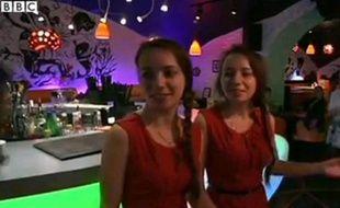 Capture d'écran du reportage de la BBC sur le Twin Stars Diner de Moscou.