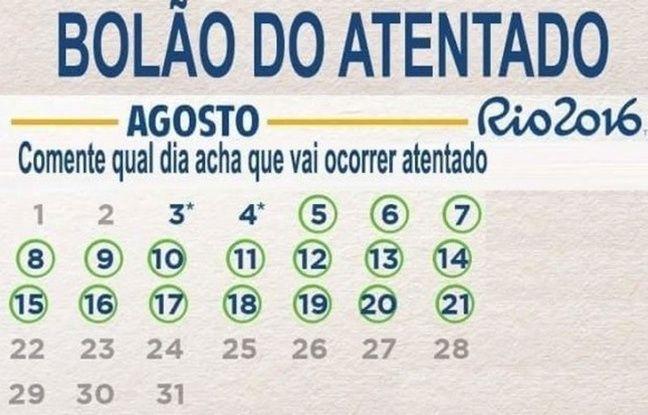 La grille du bingo-attentat créé par un blog brésilien.