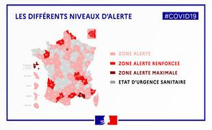 La carte des différentes zones d'alerte Covid en France le 23 septembre 2020.