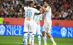 Les Marseillais fêtent un but lors de Nice-OM, le 28 août 2019.