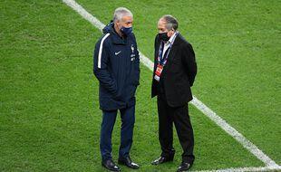Didier Deschamps and Noel Le Graet au Stade de France en novembre 2020.