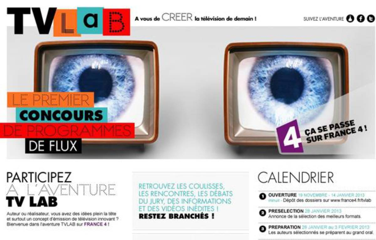 Page d'accueil du site de TV Lab. – France 4