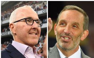 Frank McCourt et Joe DaGrosa, respectivement propriétaire de l'Olympique de Marseille et des Girondins de Bordeaux.