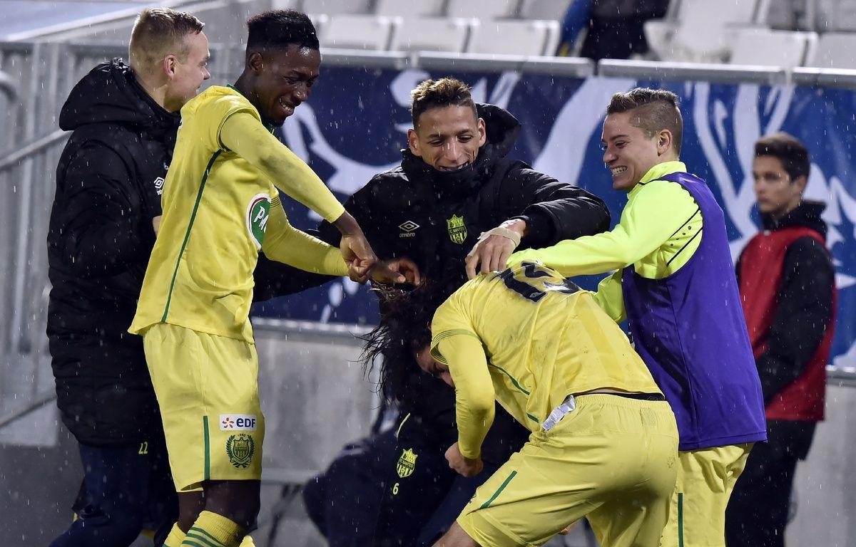 Les Nantais tout sourire le soir de leur qualification pour les quarts de finale de la Coupe de France, le 10 février 2016 à Bordeaux. – G. Gobet / AFP