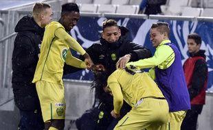 Les Nantais tout sourire le soir de leur qualification pour les quarts de finale de la Coupe de France, le 10 février 2016 à Bordeaux.