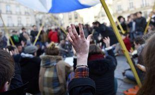 Débats organisés place du Bouffay à Nantes par le collectif Nuit Debout.  / AFP PHOTO / LOIC VENANCE