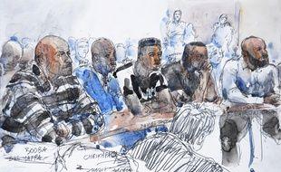 Dessin du procès de Booba et Kaaris, au tribunal de Créteil, jeudi 6 septembre 2018