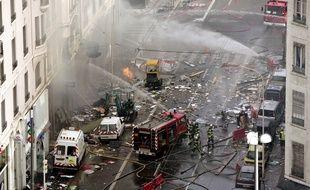 La cour d'appel de Lyon examine lundi 5 octobre 2015 l'affaire de l'explosion du cours Lafayette à Lyon, survenue le 28 février 2008. AFP PHOTO / FRED DUFOUR