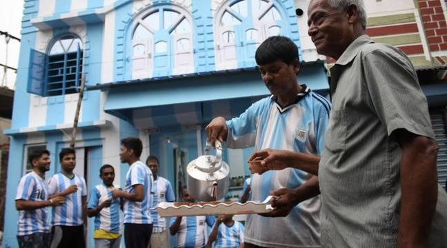 Inde un fan de lionel messi repeint sa maison aux couleurs de l argentine - Maison de l argentine ...