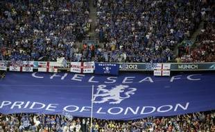 Une tribune de supporters de Chelsea, en 2012 lors d'un match de la Ligue des Champions à Munich