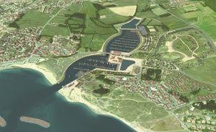 Image de synthèse du futur port de plaisance à Brétignolles (Vendée)