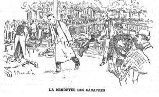 Gravure représentant la remontée des cadavres, au lendemain de la tragédie.