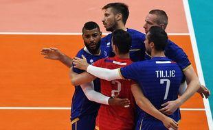 L'équipe de France de volley lors de sa défaite face au Brésil