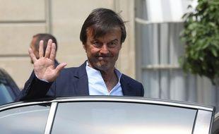Nicolas Hulot à la sortie du Conseil des ministre, au Palais de l'Elysée, le 23 mai 2018.