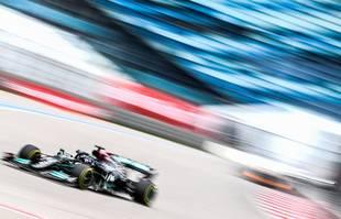 Le pilote britannique Lewis Hamilton (Mercedes-AMG Petronas) lors du Grand Prix de Russie, à Sotchi, le 26 septembre 2021.