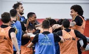 La joie des joueurs belges à l'entraînement