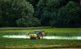 Un agriculteur répand du glyphosate dans son champ dans les Hauts-de-France.