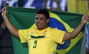 L'attaquant brésilien Ronaldo lors des ses adieux au football avec la Selecao, le 8 juin 2011, à Sao Paulo.