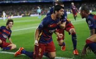 L'attaquant de Barcelone Luis Suarez, le 29 septembre 2015 contre le Bayer Leverkusen.