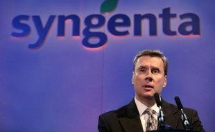 Mike Mack, le directeur général de Syngenta, le 7 février 2008, lors d'une conférence de presse à Londres